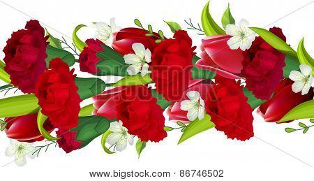 Seamless horizontal border with red carnations and tulips
