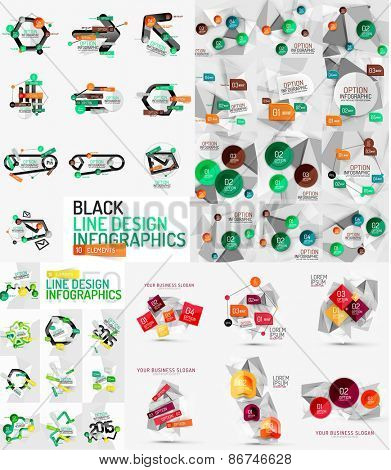 Vector mega set of modern business infographic templates made of abstract geometric shapes. Option banners collection
