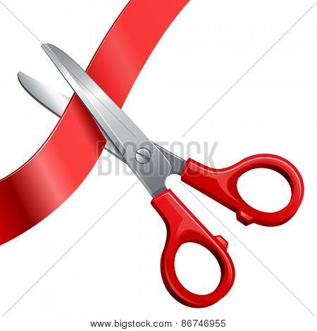 scissors cut off the ribbon