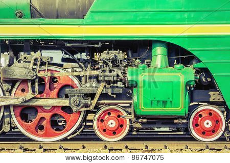 Mechanical Part And Wheels Of The Steam Locomotive.