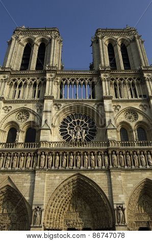 Facade Of The Cathedral Notre Dame De Paris