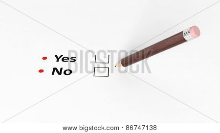 Questionnaire yes or not, blank boxes and wooden pencil on white