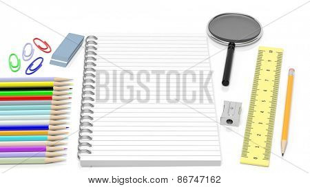 Drawing/writing tools and blank notepad, isolated on white background