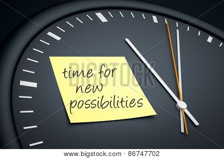 An image of a dark clock with a sticky note and message time for new possibilities