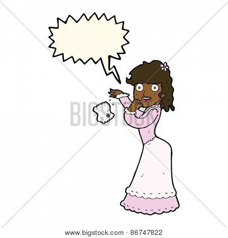 cartoon victorian woman dropping handkerchief with speech bubble