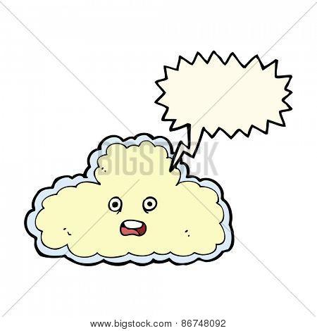 cartoon cloud symbol with speech bubble