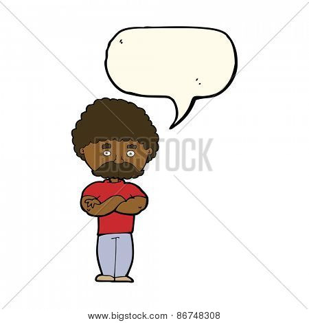 cartoon dad with folded arms with speech bubble