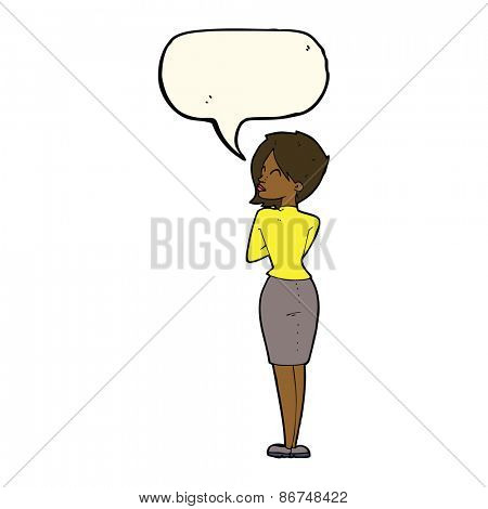 cartoon businesswoman ignoring with speech bubble