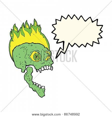 spooky shrieking skull