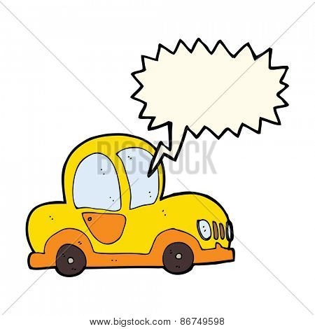 cartoon car with speech bubble