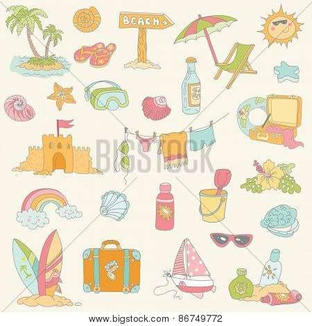 Seaside and Summer Design Elements in vector