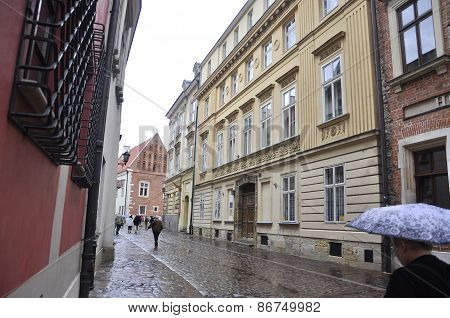 KRAKOW,POLAND-AUGUST 19:Street from Krakow in Poland on august 19