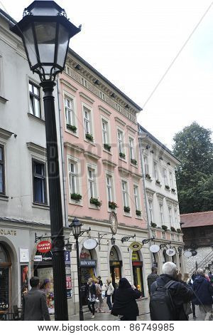 KRAKOW,POLAND-AUGUST 19:Street from in Krakow in Poland on august 19 2014
