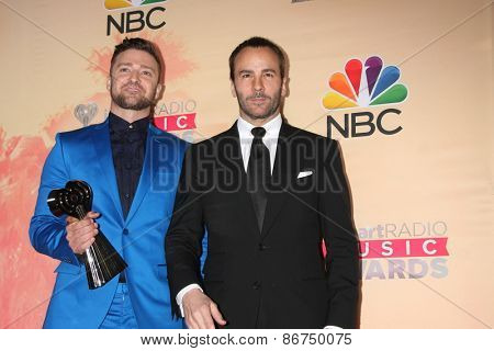 LOS ANGELES - MAR 29:  Justin Timberlake, Tom Ford at the 2015 iHeartRadio Music Awards Press Room at the Shrine Auditorium on March 29, 2015 in Los Angeles, CA
