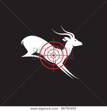 Vector Image Of A Deer Target On A Black Background.
