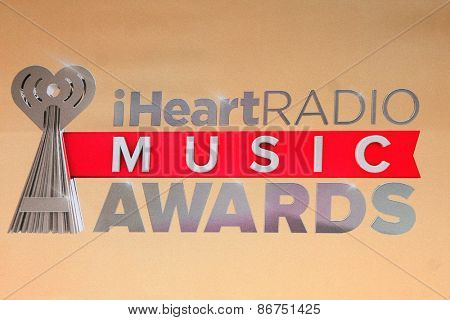 LOS ANGELES - MAR 29:  Iheart Radio Music Awards Emblem at the 2015 iHeartRadio Music Awards Press Room at the Shrine Auditorium on March 29, 2015 in Los Angeles, CA
