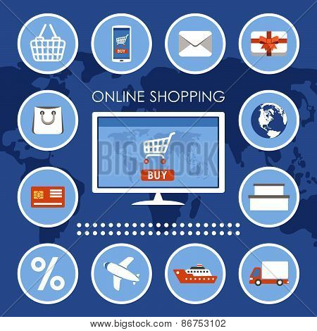 Internet shopping, e-commerce, online shopping set.