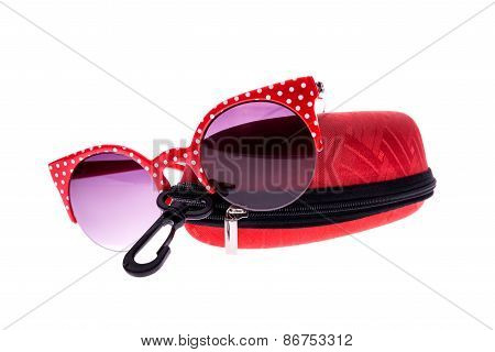 Red Sunglasses With Case