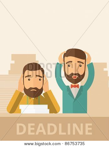 Two sad face hipster Caucasian gentlemen with beard has a big problem because they failed to submit their project  on time with their hands raising. Disappointed, miserable concept.