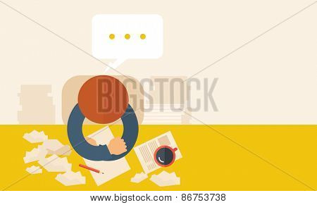 A writer is sitting in front of the table facing downward thinking on what to write with his pen and coffee beside him. Writing and thinking concept. A contemporary style with pastel palette beige