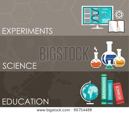 Three Science Banners. Infographics.