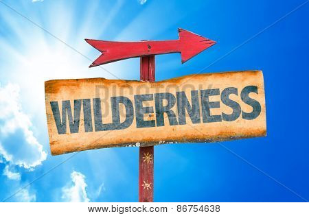 Wilderness sign with sky background