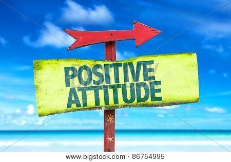 Positive Attitude sign with beach background