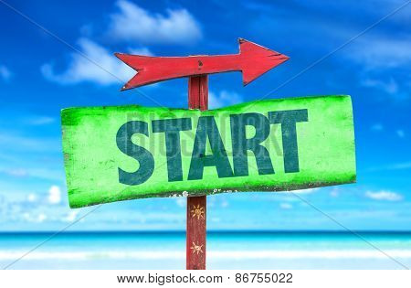 Start sign with beach background