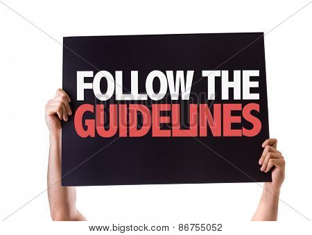 Follow the Guidelines card isolated on white