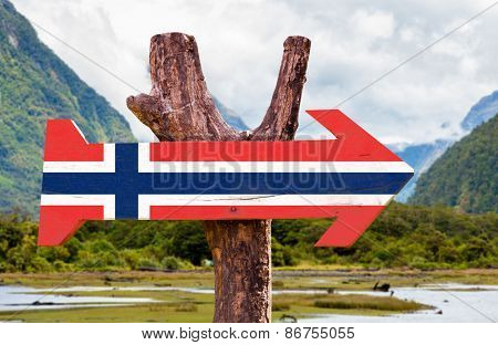 Norway Flag wooden sign with mountains background