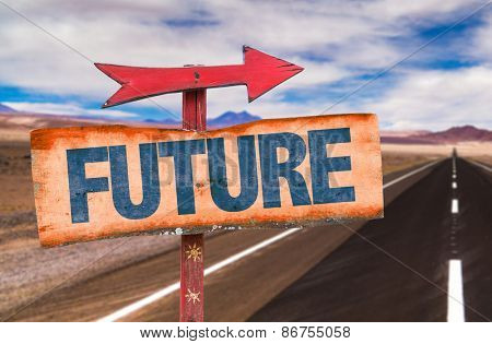 Future sign with road background