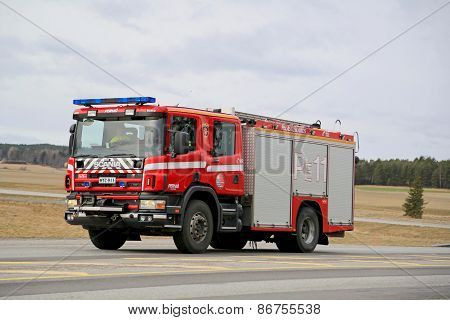 Rushed Scania Fire Engine On Highway