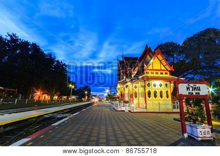 Twilight At Hua Hin Railway Station.