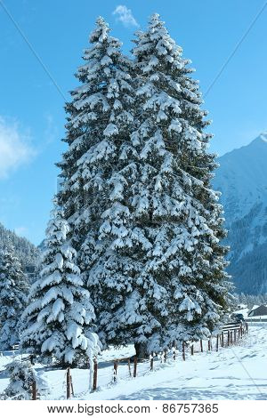 Winter Mountain Landscape (austria, Tirol)