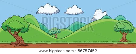 Background of a landscape with hills and trees. Vector illustration. All in a single layer.