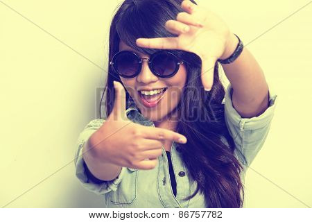Young Woman Happy Posing Like Capture A Picture