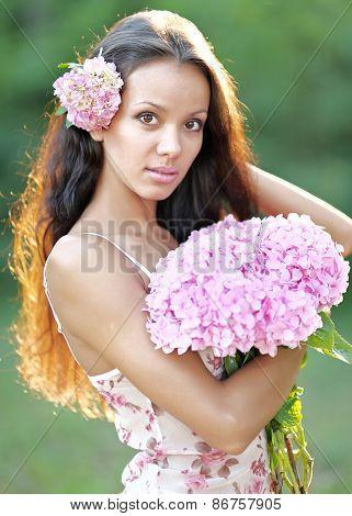 Beautiful Elegant Brunette Girl On The Nature