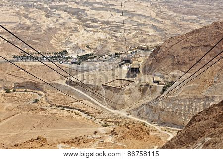 A view from Masada's cable car, from the top of the ancient fortress to the museum and welcome center.