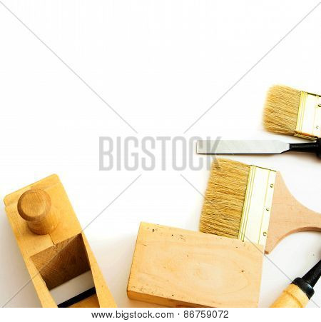 Working tools on a white background.