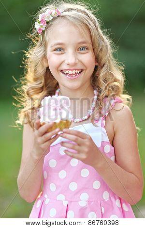 Portrait Of A Beautiful Little Girl In Pink