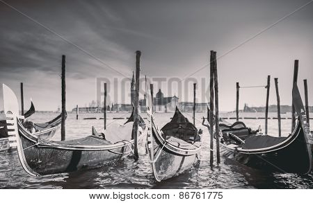 Gondolas At The  Piazza San Marco, Venice, Italy.