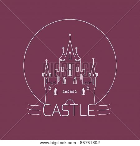 Thin Outline Castle. Logo Template In Linear Style