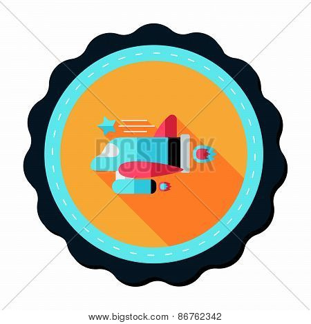 Spaceship Flat Icon With Long Shadow,eps10
