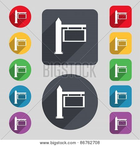 Information Road Sign Icon Sign. A Set Of 12 Colored Buttons And A Long Shadow