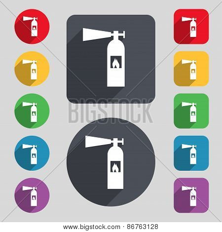 Fire Extinguisher Icon Sign. A Set Of 12 Colored Buttons And A Long Shadow