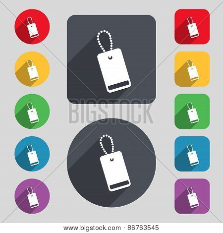 Army Chains Icon Sign. A Set Of 12 Colored Buttons And A Long Shadow