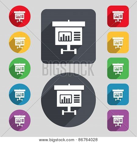 Graph Icon Sign. A Set Of 12 Colored Buttons And A Long Shadow