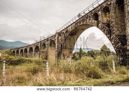 Old Railway Bridge In Carpathian Mountains