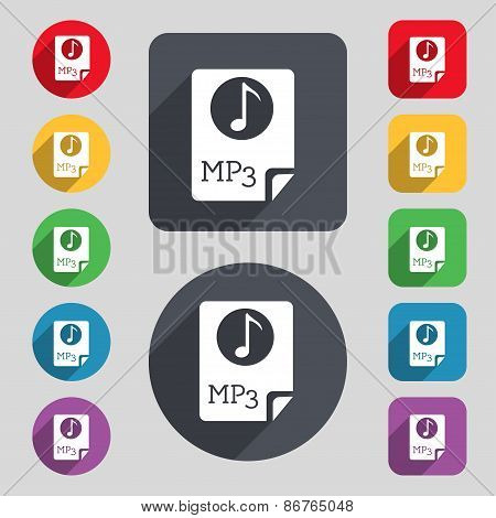 Audio, Mp3 File Icon Sign. A Set Of 12 Colored Buttons And A Long Shadow