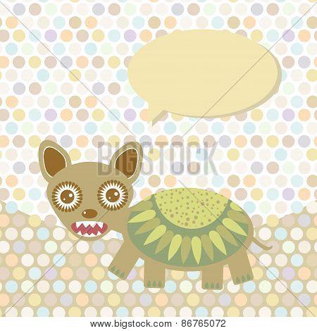 Polka dot background, pattern. Funny cute monster on dot background. Vector